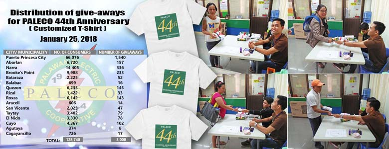 Distribution Of Give-Aways For PALECO 44th Anniversary